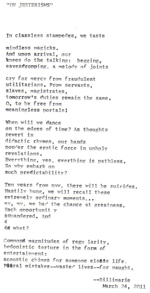 """On Jesterisms"" by billimarie"