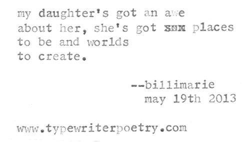 """""""Daughter"""" billimarie typewriter poetry"""