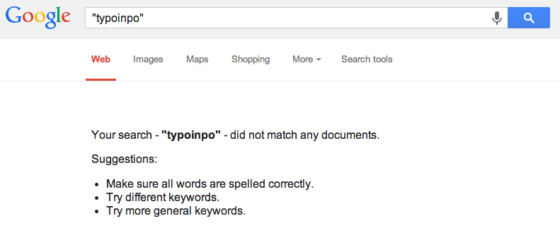 TyPoInPo No Google Results
