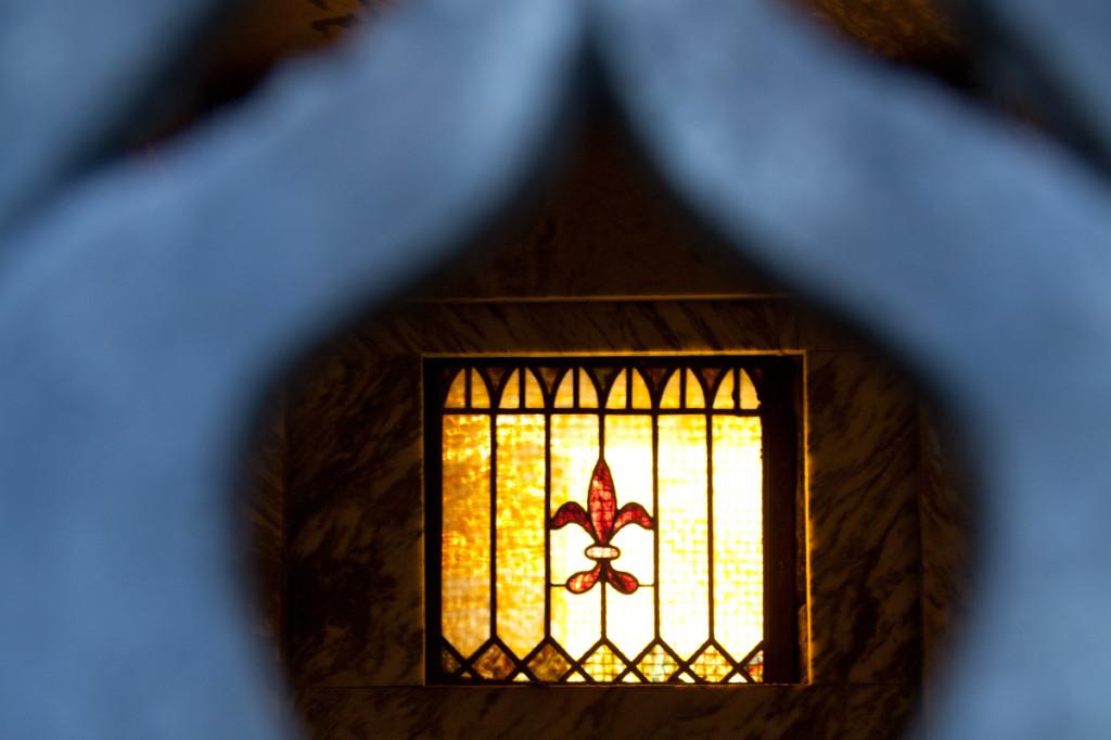 Inside a mausoleum.