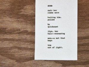 """Etsy Typewriter Poetry Poem """"Adam"""" medium shot against wood card stock."""