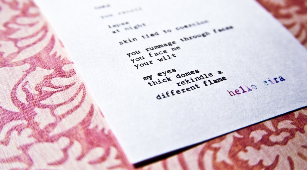 """Etsy Typewriter Poetry Typewritten Poem by billimarie """"Take."""" Dutch angle against floral pink card stock. Watermark: hello eira."""