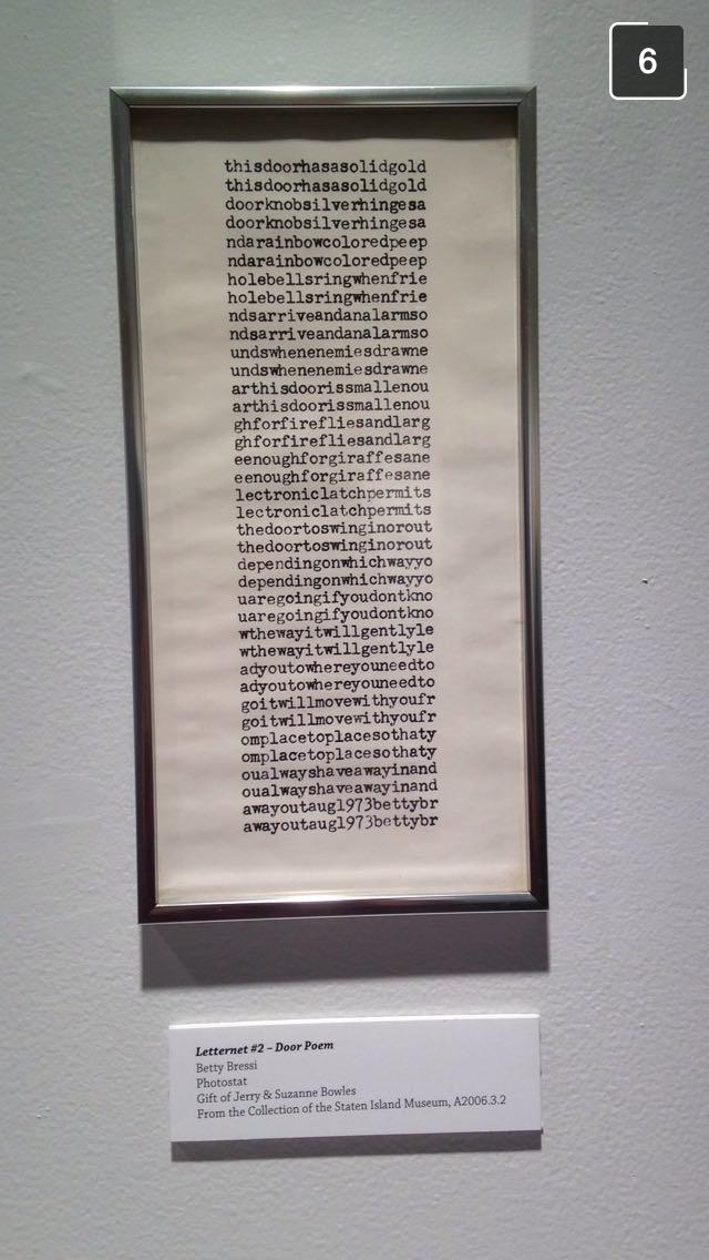 Betty Bressi Snapchat billimarie typewriter poetry staten island museum