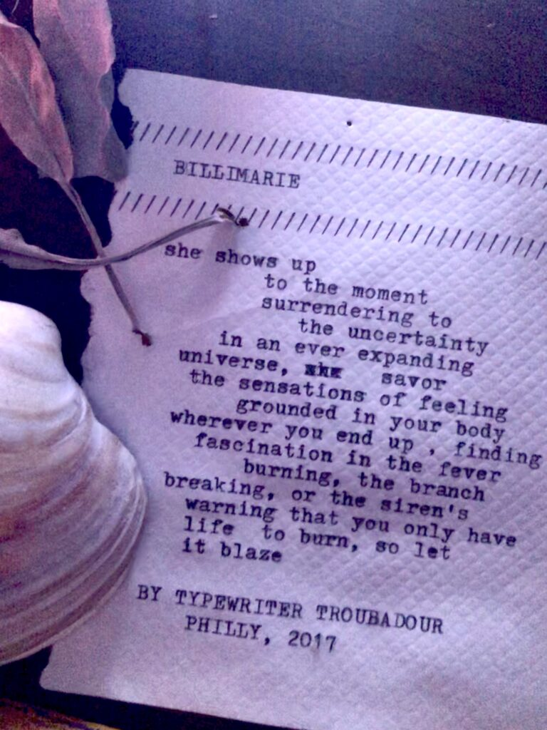 """""""Billimarie"""" by Typewriter Troubadour in Philly"""